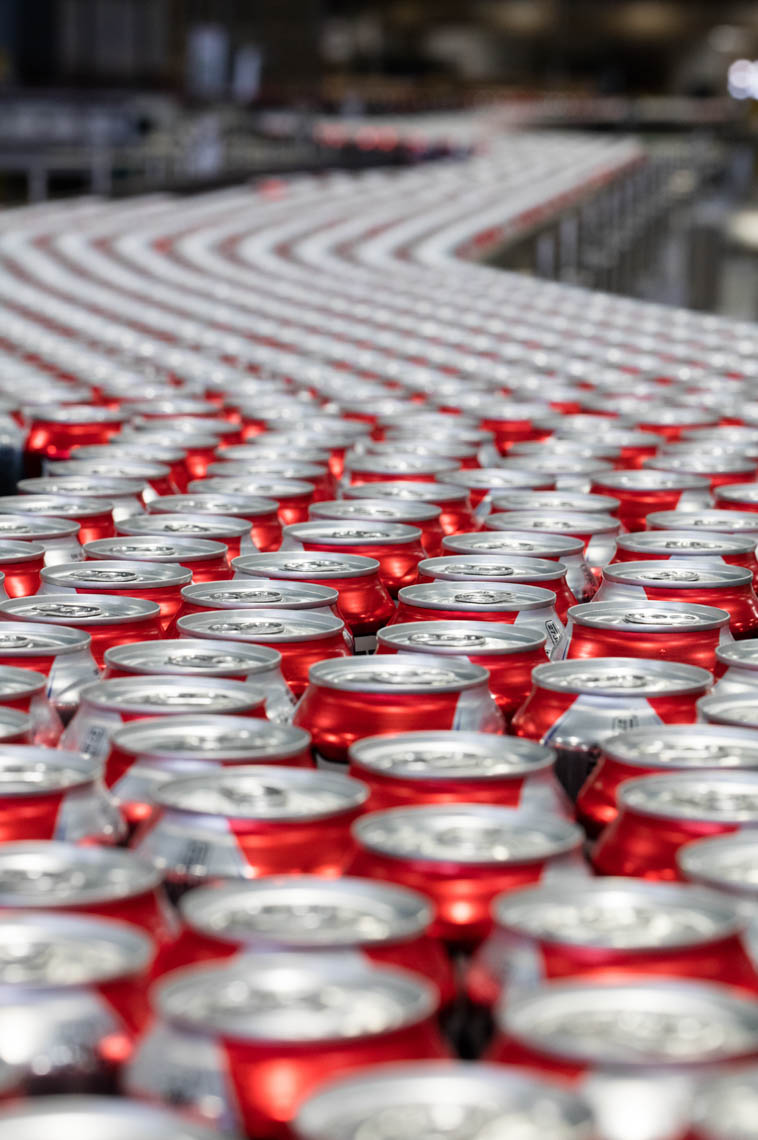 Beer Cans Move down the Production Line