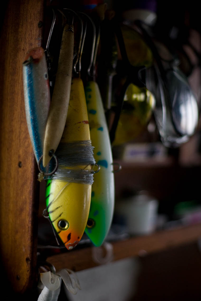 Fishing Lures Hang in the Galley of a Tuna Boat