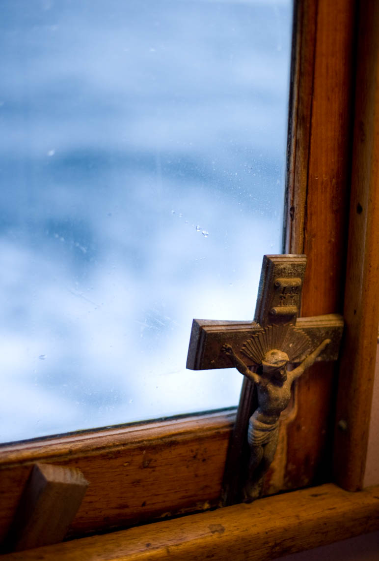 A Cross in the Window of an Albacore Tuna Boat