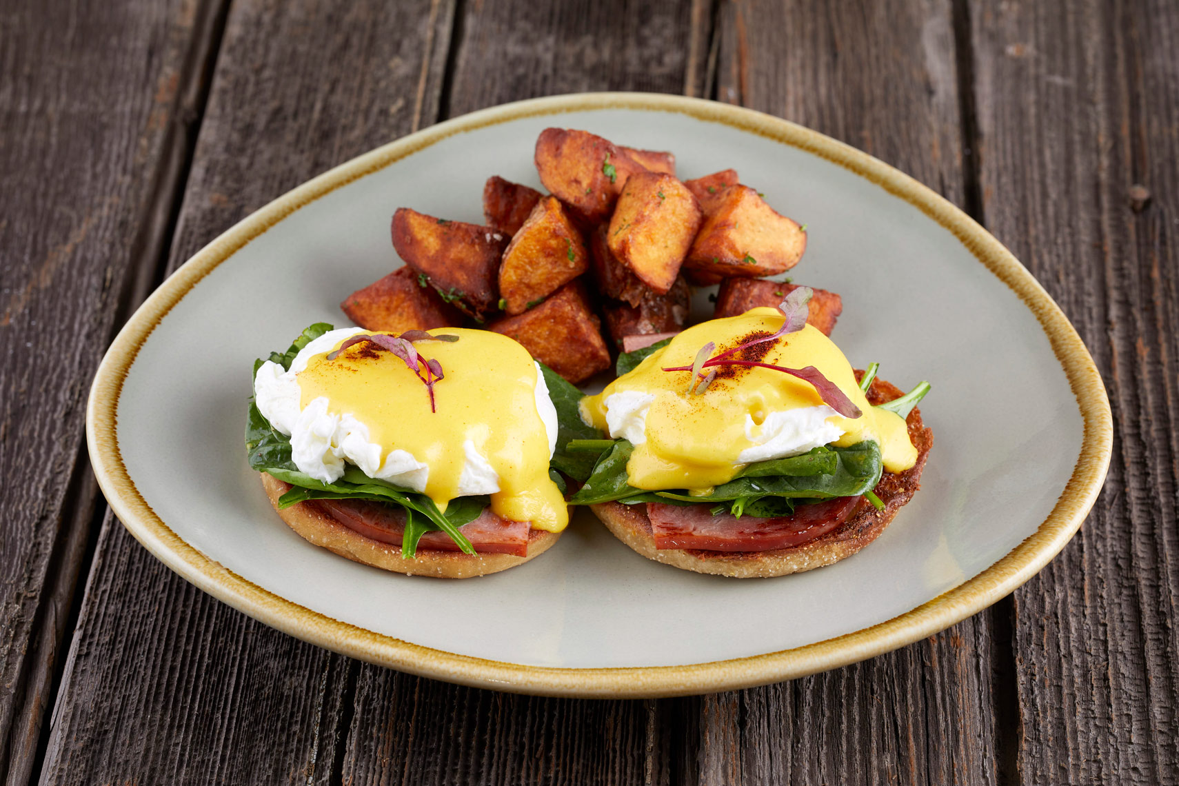 Eggs Benedict and House Potatoes