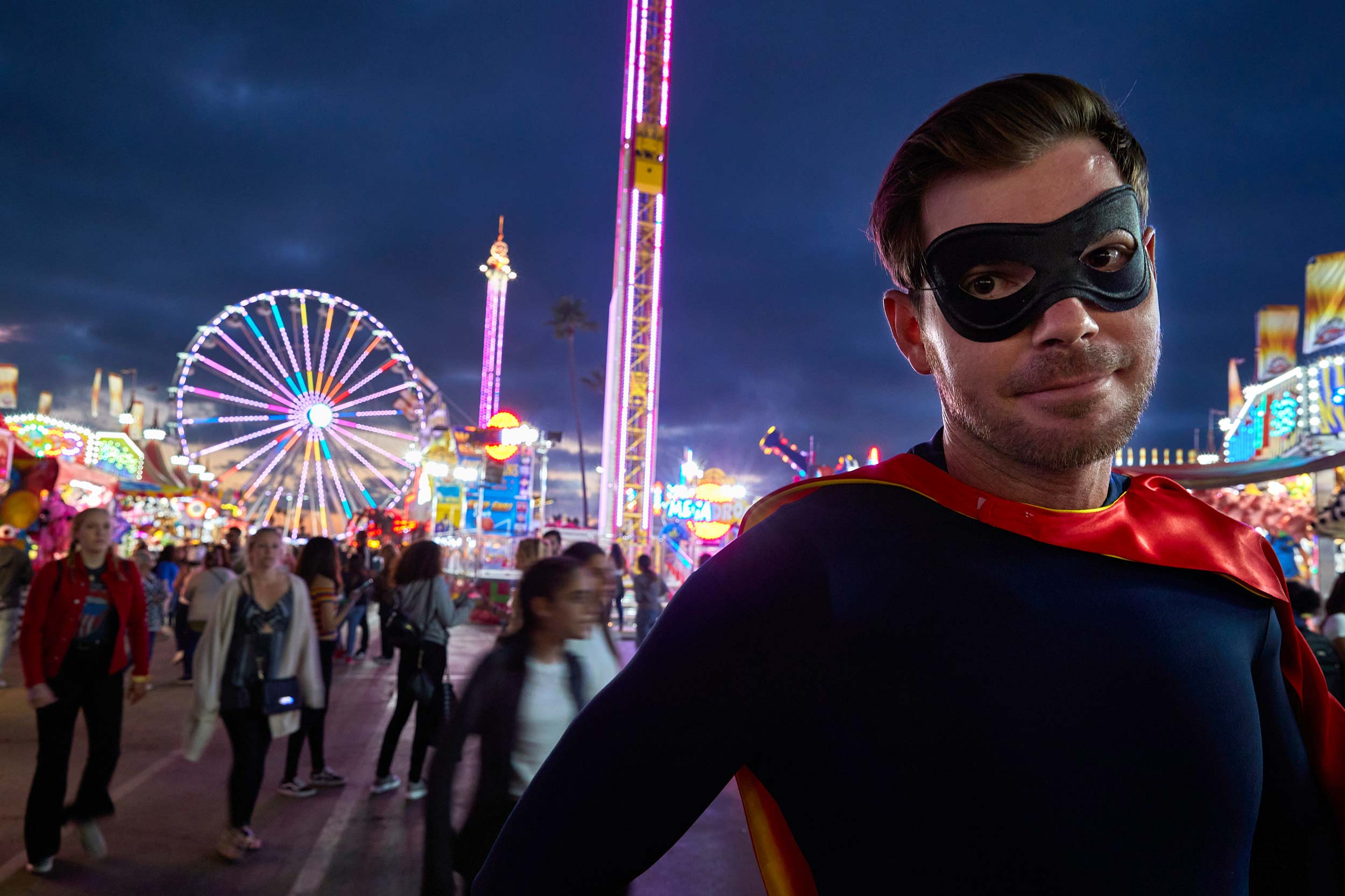 Superhero at the SD Fair at Night