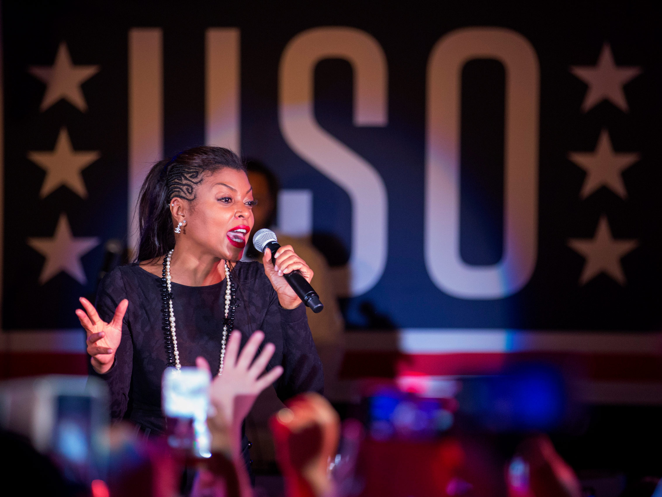 Taraji P. Henson performs for troops in Japan