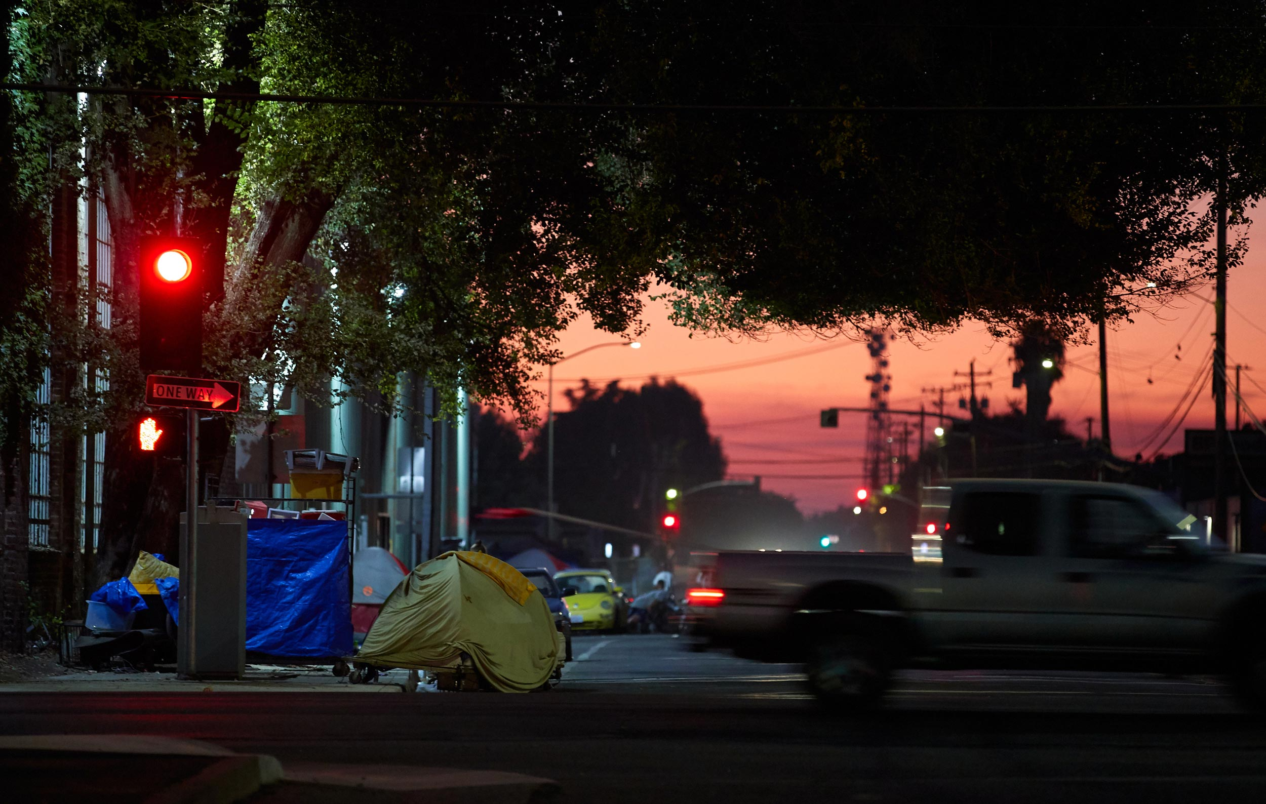 Downtown Homeless Encampment at Dusk