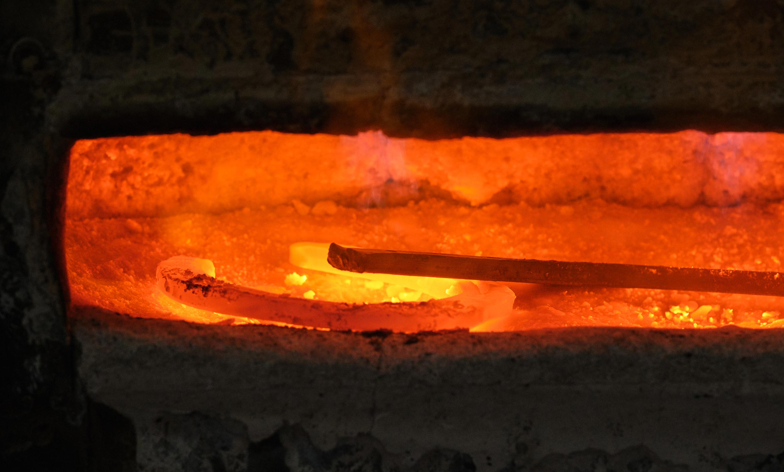 Furnace with Glowing Red Horseshoes