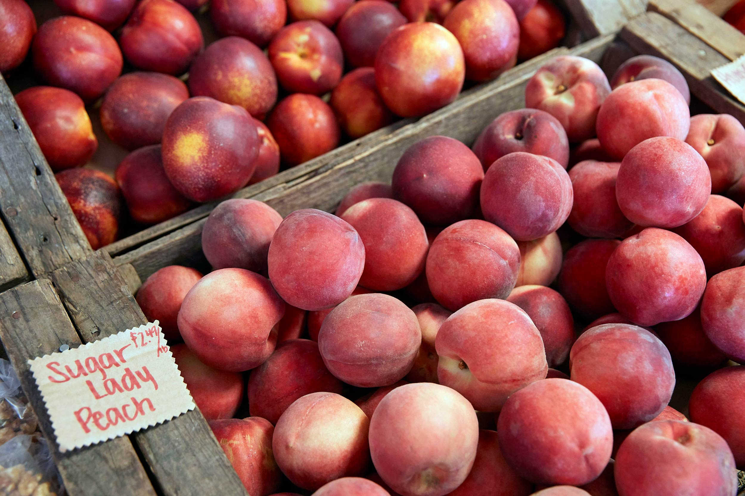 Peaches for Sale at a Roadside Market in California