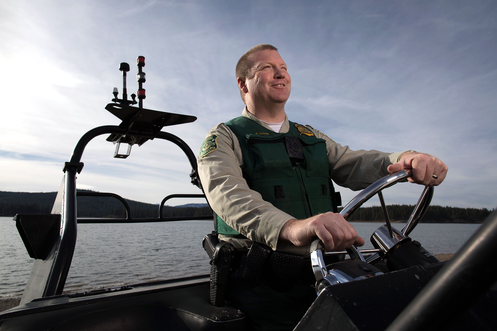 USFS agent on boat with Volvo engines