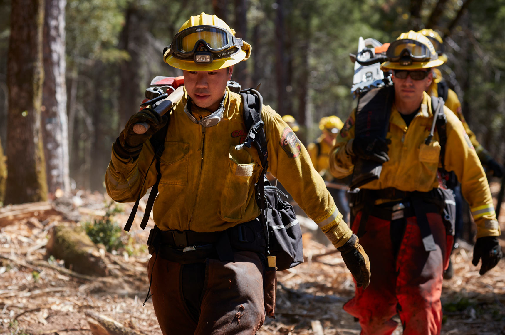 Firefighters Hike to Cut Firebreaks