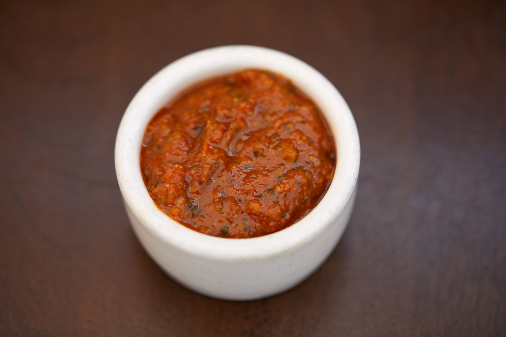 Sun Dried Tomato Dipping Sauce in a Ramekin